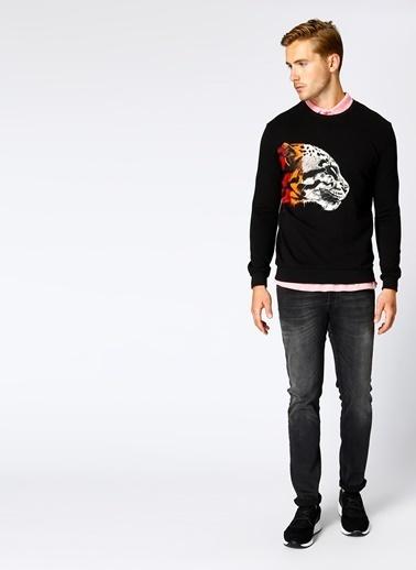 T-Box Baskılı Sweatshirt Siyah